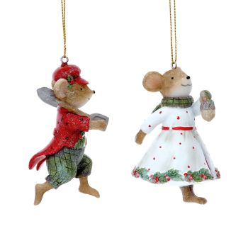 Gisela Graham Mr and Mrs Mouse Decorations