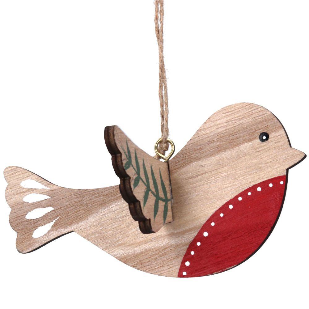 Gisela Graham Natural Wood Flying Robin Decoration
