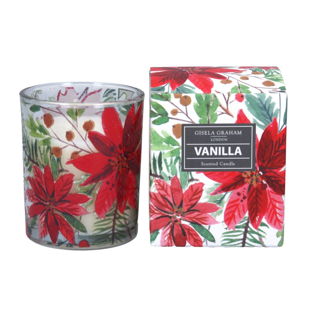 Gisela Graham Poinsetta Boxed Candle - Vanilla