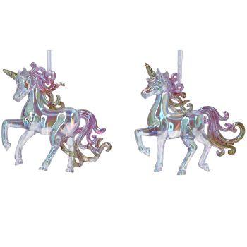 Gisela Graham Iridescent Rainbow Unicorn Decoration