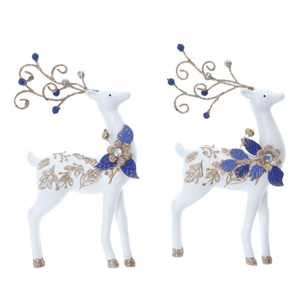 Gisela Graham Blue and White Resin Jewelled Reindeer Decoration - 2 Assorte