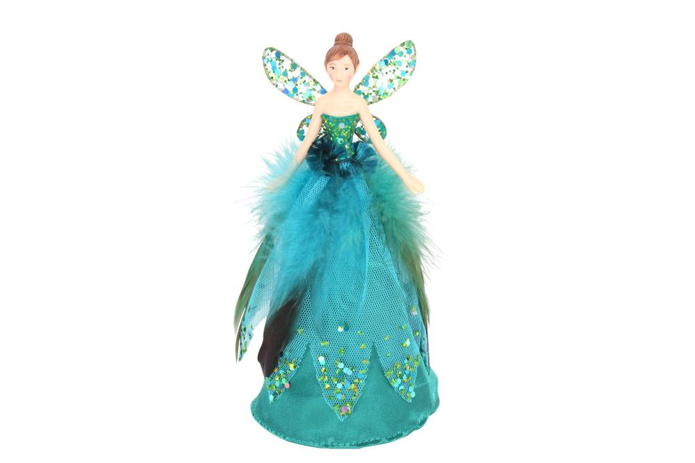 Gisela Graham Peacock Feather Tree Top Angel