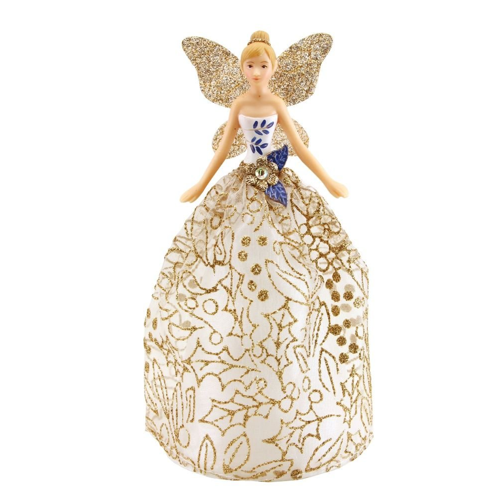 Gisela Graham Blue, White and Gold Tree Top Angel