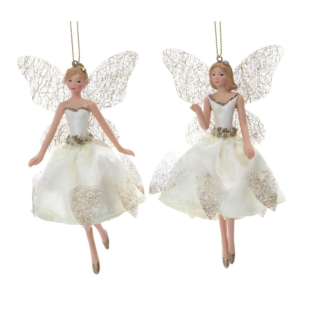 Gisela Graham Cream and Gold Resin Fairy Decoartion - 2 Assorted