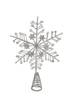 Gisela Graham Silver Glitter Snowflake Tree Top Star