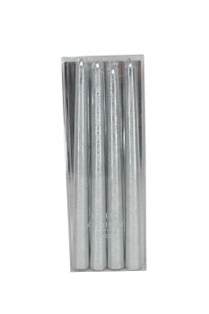 Gisela Graham Silver Dipped Wax Taper Candle - Box of 4