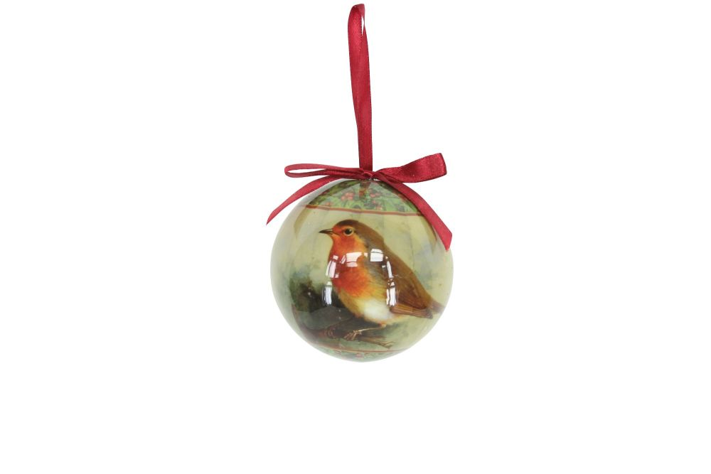Gisela Graham Traditional Robin Glossed Paper Bauble