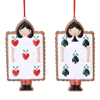 Gisela Graham Gingerbread Playing Cards Decoration - 2 Assorted