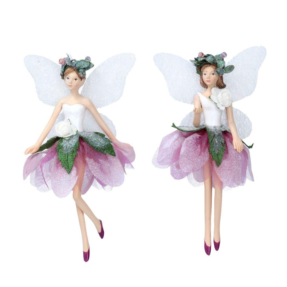 Gisela Graham Helleborer Fairies - White and Burgundy 2 Assorted