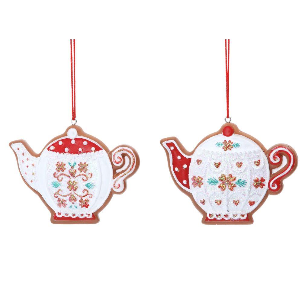 Gisela Graham Gingerbread Teapot Decorations - Set of 2