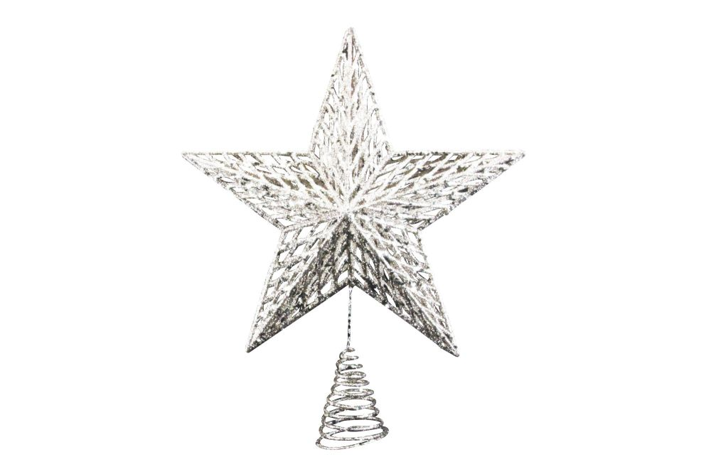 Gisela Graham Gold Glitter Moulded Star - Large