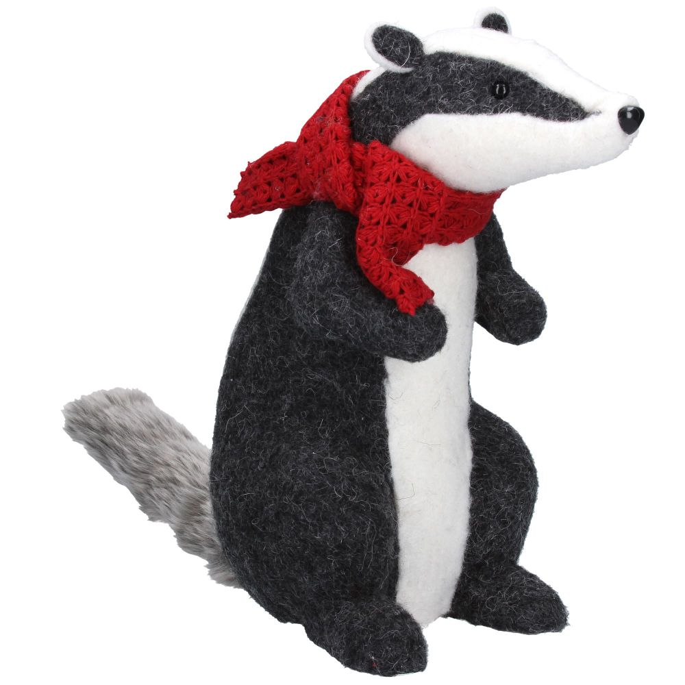 Gisela Graham Wool Badger with Scarf Ornament
