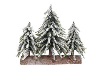 Gisela Graham Triple Snowy Fir Trees on Log Ornament