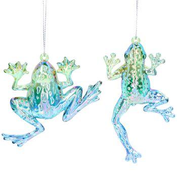 Gisela Graham Set of 2 Blue/Green Acrylic Frog Decorations