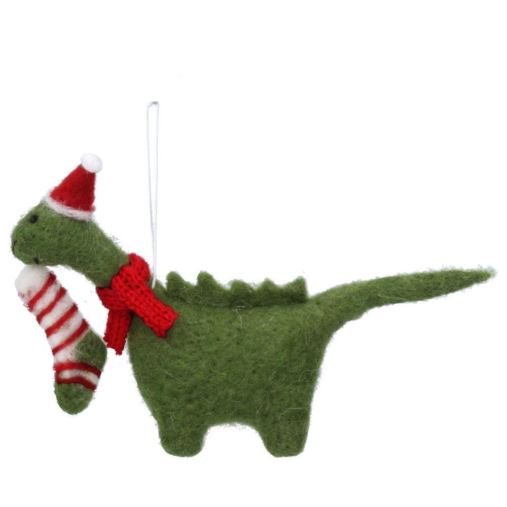 Gisela Graham Christmas Dinosaur with Stocking Decoration