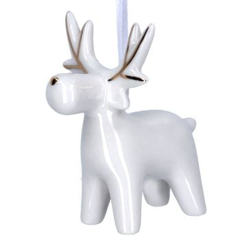 Gisela Graham White and Gold Ceramic Deer Decoration