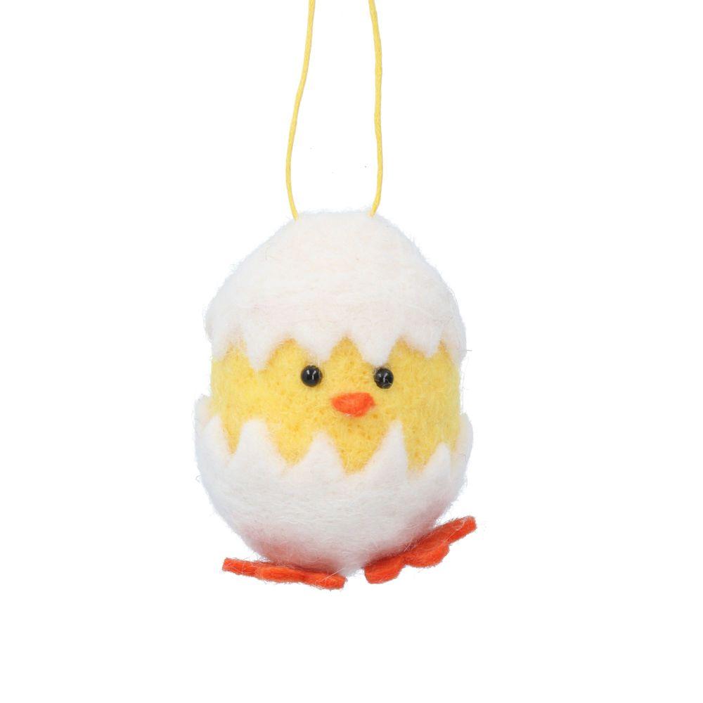 Gisela Graham Woollen Chick in Egg Hanging Decoration