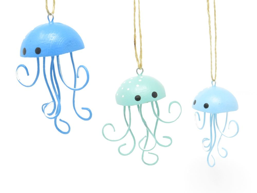 Set of 3 Hanging Jellyfish Decoration - Assorted Colours