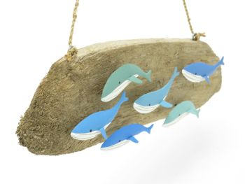 Driftwood Whale Pod Hanging Sign