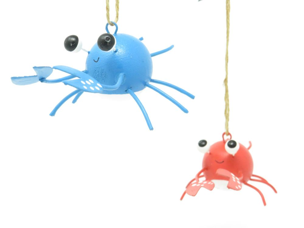 Pair of Metal Crab Hangers - 2 assorted colours