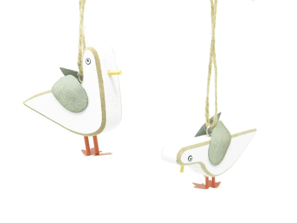 Set of 4 Hanging Seagull Decorations