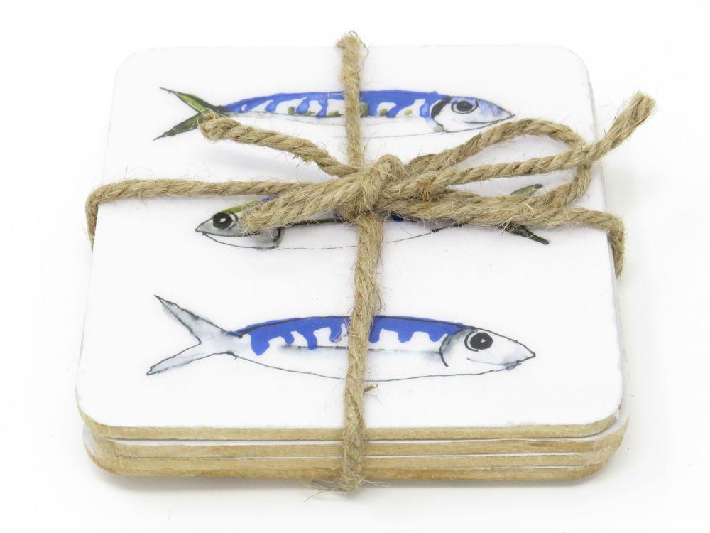 Mackerel Design Coasters - Set of 4