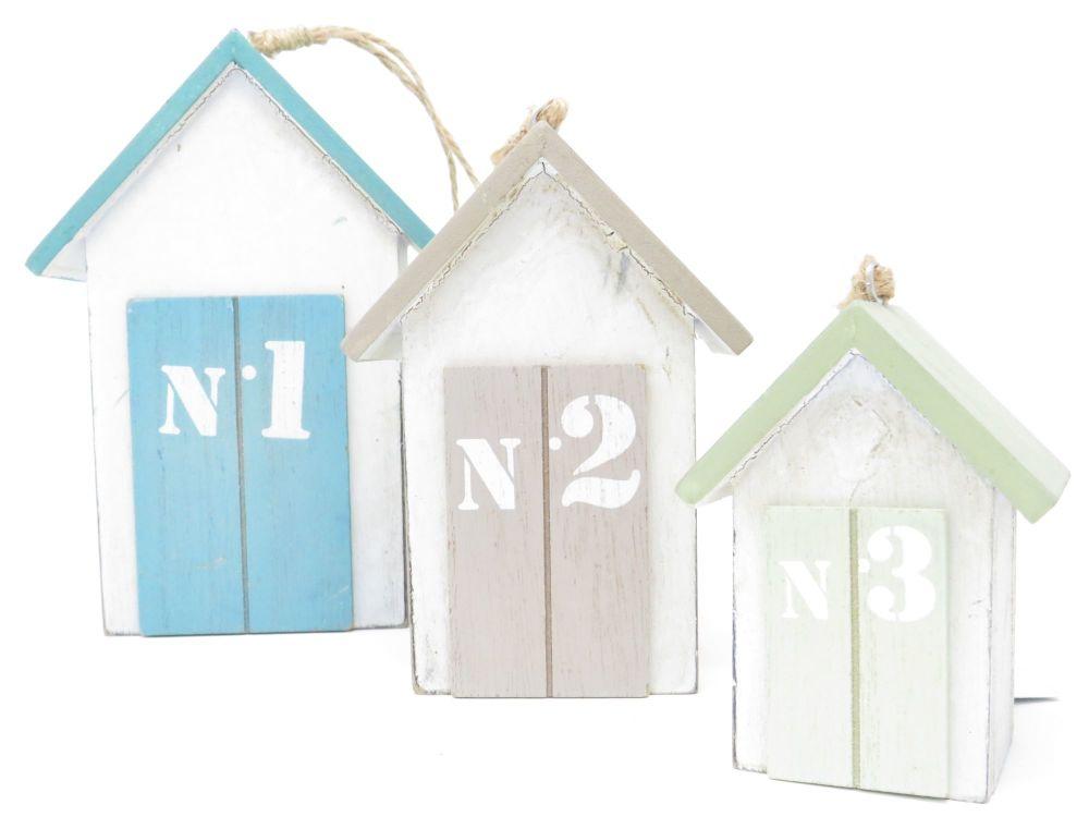 Gisela Graham Set of Three Wooden Beach Hut Ornaments