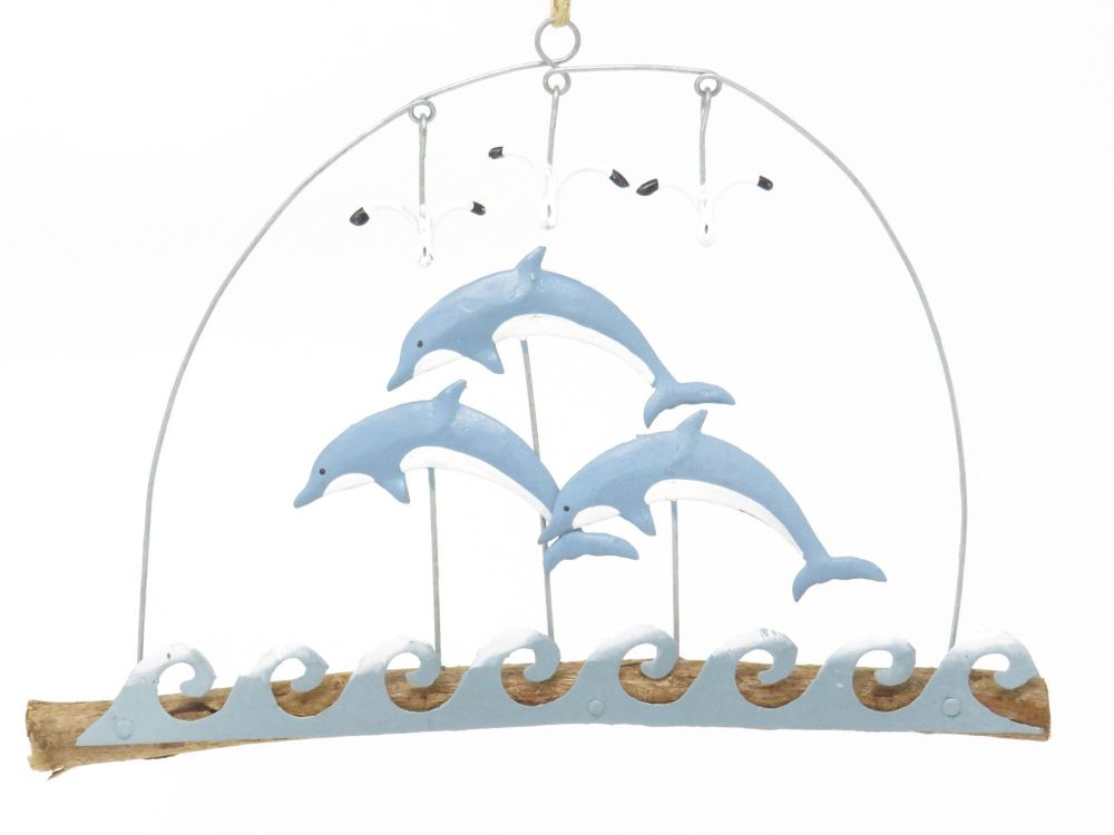 Leaping Dolphins Driftwood Hanging Sign