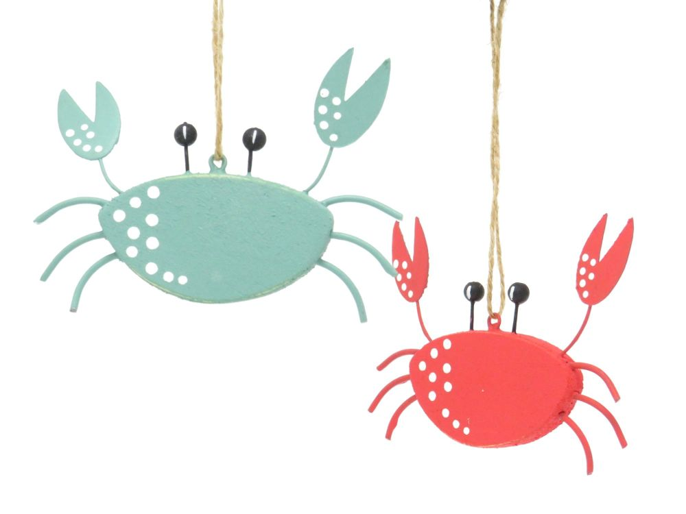 Set of Two Wooden Crabs Hanging Decorations - Orange and Teal