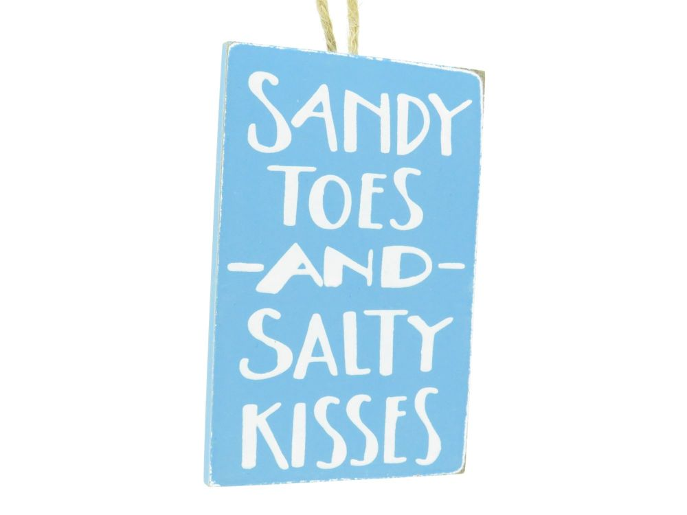 'Sandy Toes and Salty Kisses' Wooden Hanging Signs