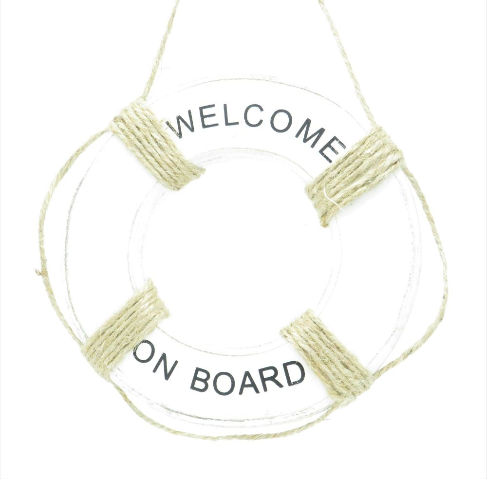 Whitewashed Wooden 'Welcome Home' Life Buoy Sign