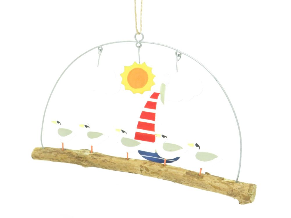 Seagulls under the Sun Metal and Wooden Hanger