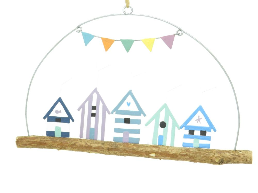 Row of Beach Huts Metal and Wooden Hanging Sign