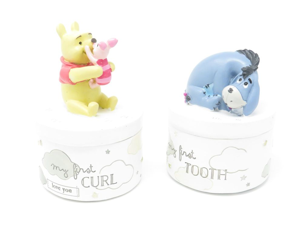 Winnie The Pooh Set of 2 Tooth and Curls Keepsake Pots