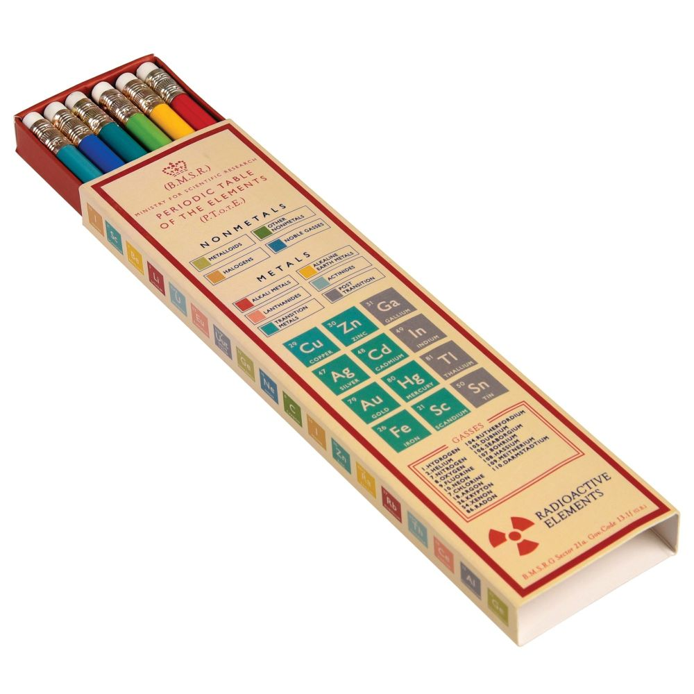 Periodic Table Design Box of 6 Pencils