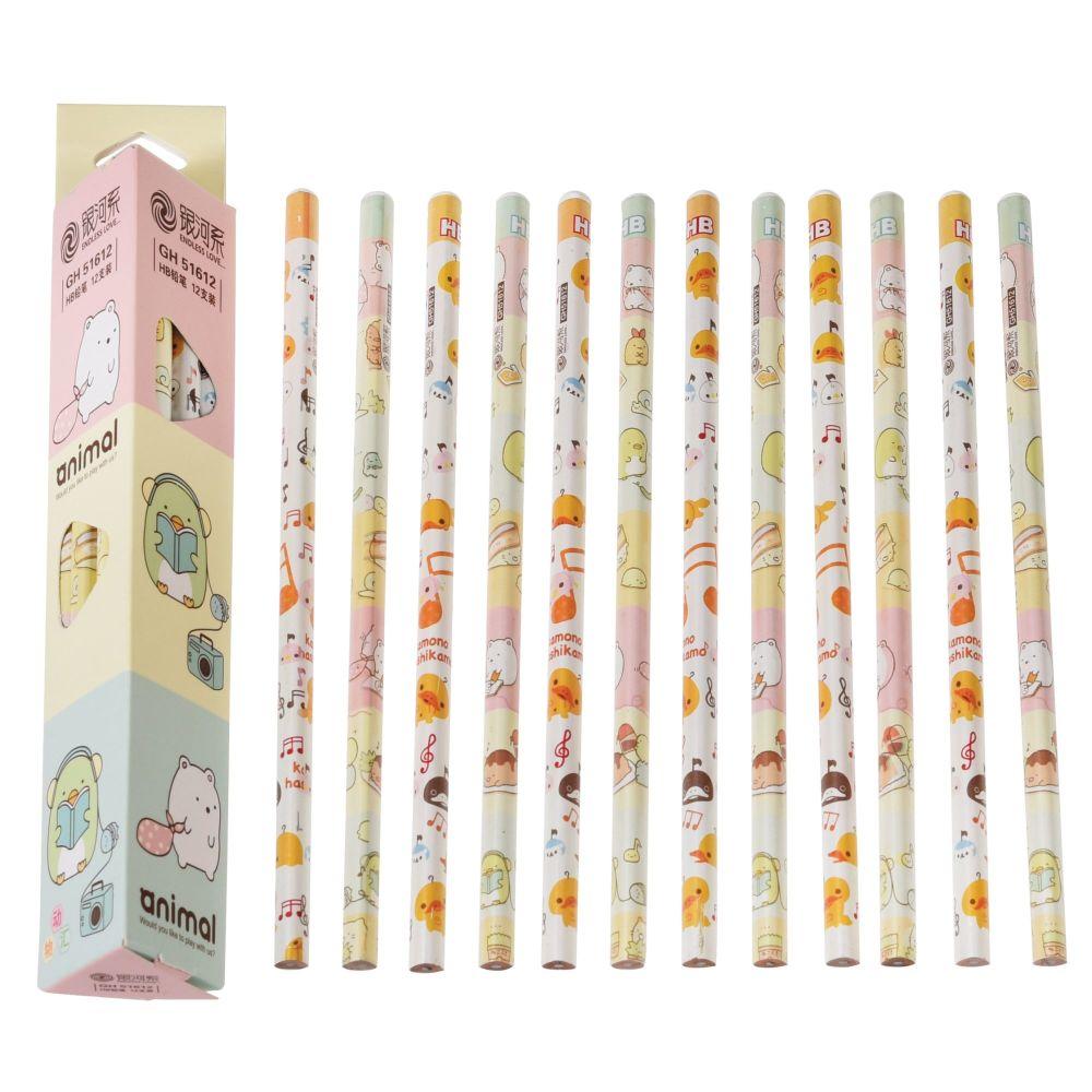 Triangular Box of 12 Cartoon Design Pencils
