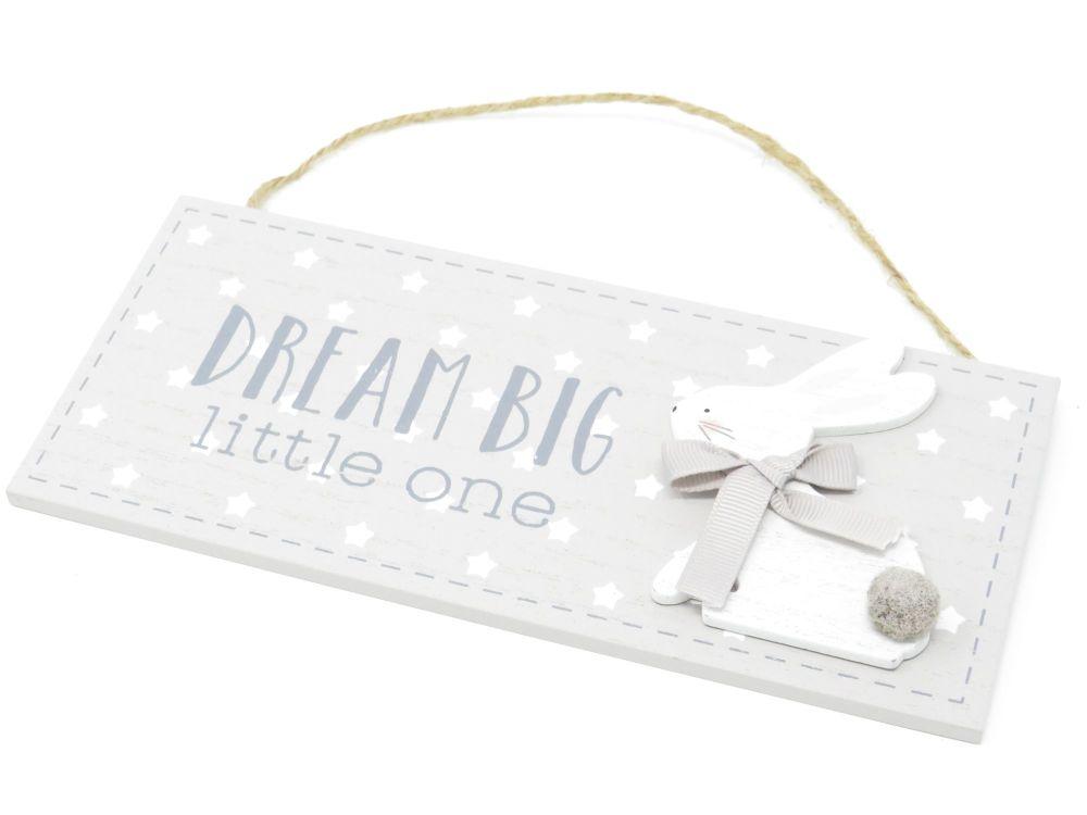 'Dream Big Little One' Hanging Bunny Plaque