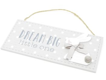 'Dream Big Little One' Hanging Bunny Plaque
