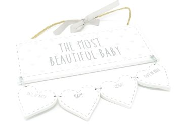 'The Most Beautiful Baby' Wooden Plaque with Record Hearts