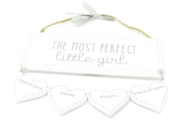 'The Most Perfect Little Girl' Wooden Plaque with Record Hearts
