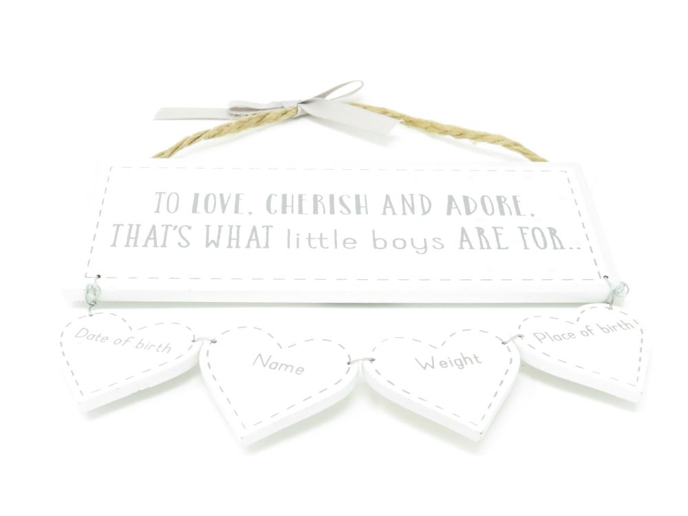 '..Little Boys are For..' Wooden Plaque with Record Hearts