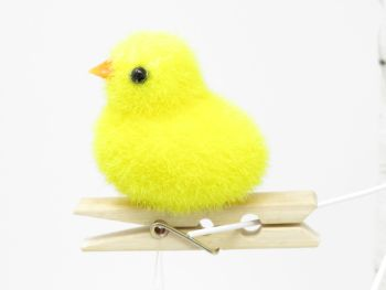 Fuzzy Chick on a Peg Decoration