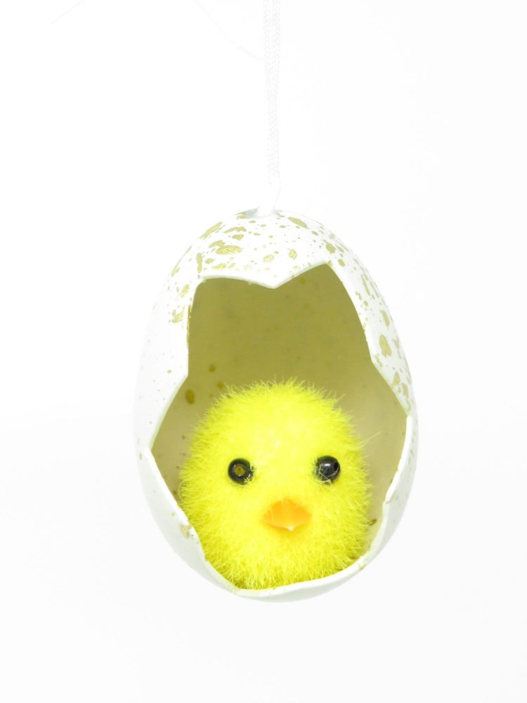 Fuzzy Chick in a Egg Hanging Decoration