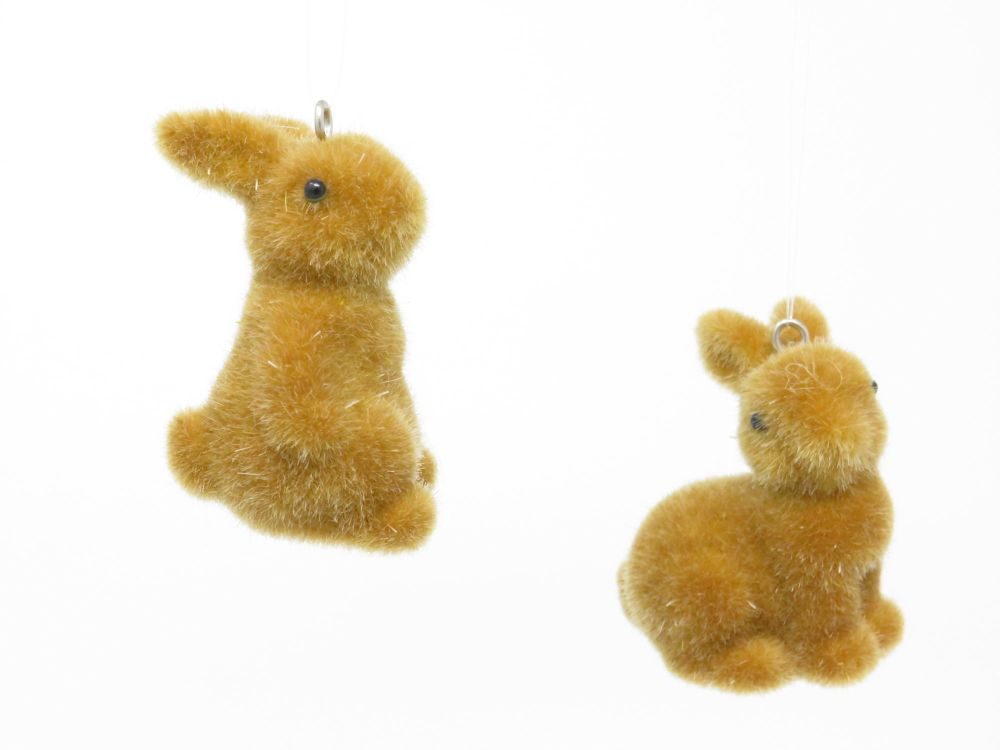 Set of Two Flock Bunny Hanging Decorations