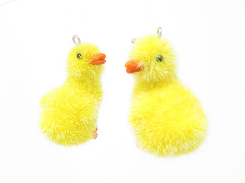 Flocked Chick Hanging Decorations - Set of 2