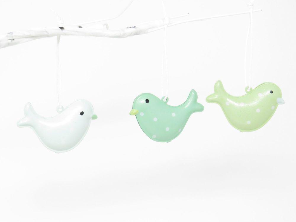 Tub of Metal Hanging Pastel Birds