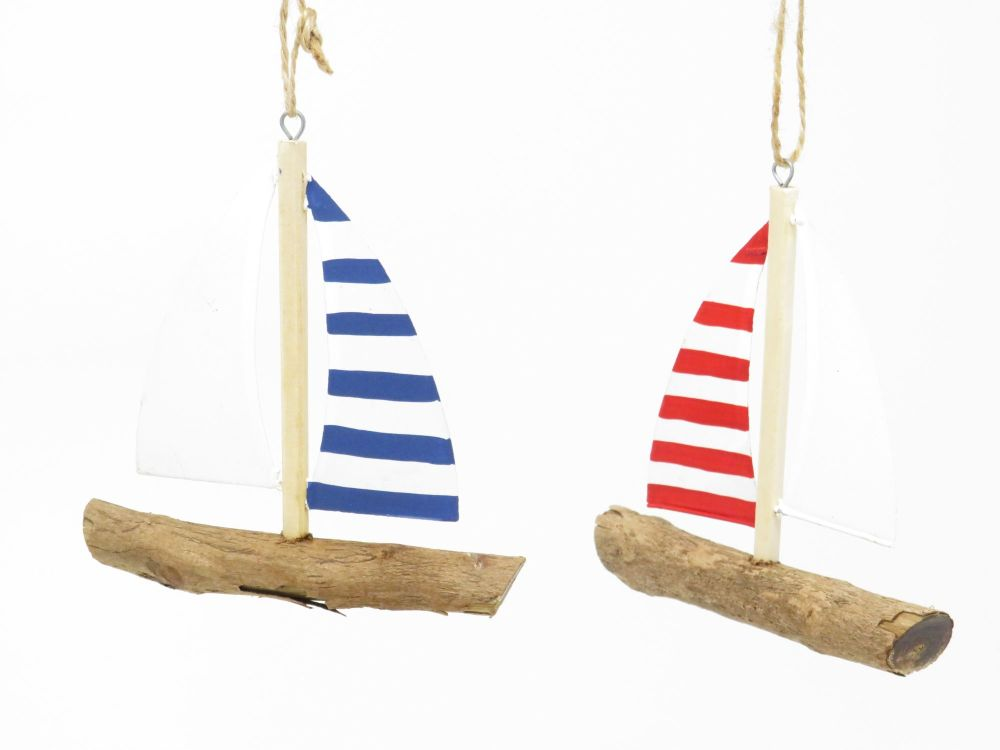 Striped Blue and Red Yachts on Driftwood Hangers - Set of 2