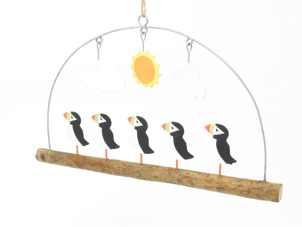 Puffins in the Sun Driftwood Hanger