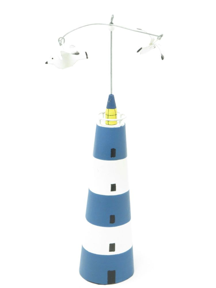 Blue Striped Lighthouse with Seagulls
