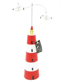 Red Striped Lighthouse with Seagulls